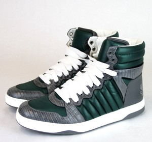 Gucci Gray/Green Men's Ostrich/Nylon High-top Sneaker 9 G/Us 9.5 D 322762 3060 Shoes