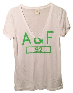 Abercrombie & Fitch Deep V V-neck Soft T Shirt White