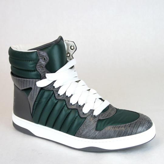 Gucci Gray/Green Men's Ostrich/Nylon High-top Sneaker 10.5 G/Us 11 D 322762 3060 Shoes