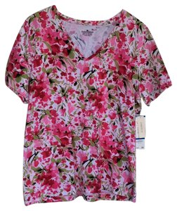 Jones New York T Shirt White, pink, fucsia, green