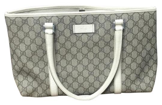 Preload https://img-static.tradesy.com/item/19356556/gucci-white-and-gray-pvc-leather-trimmings-satchel-0-1-540-540.jpg