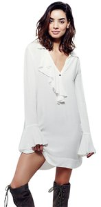 Free People short dress White Ruffle Tunic V-neck on Tradesy