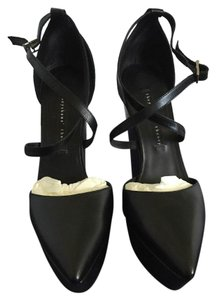 Theory Theysken's Leather Strappy Black Wedges