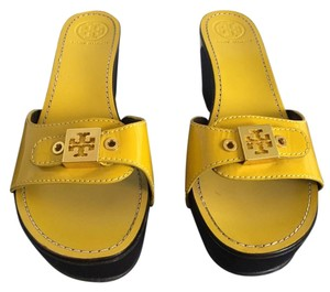 Tory Burch Wood Yellow Wedges