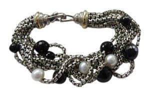 David Yurman 8 Strand SS and 18k 2.7mm Box Chain with Pearls and Black Onyx