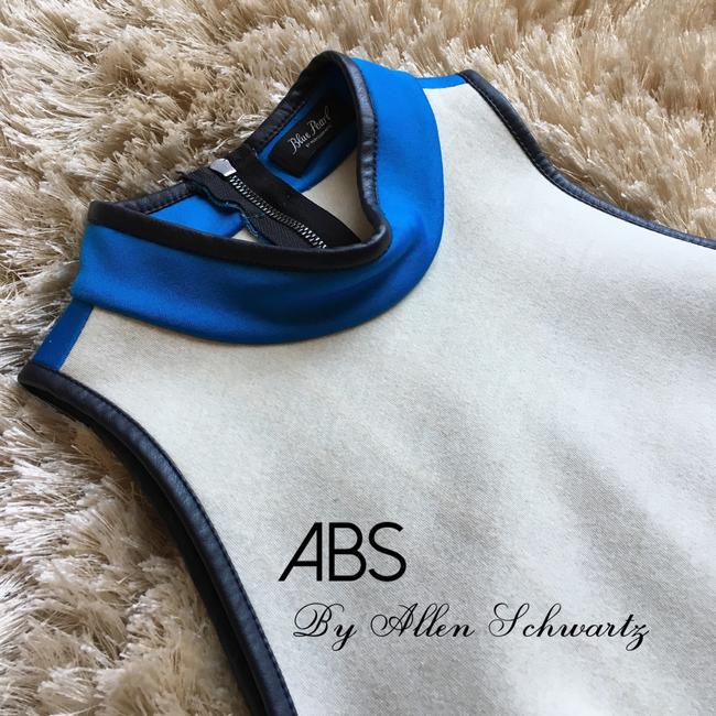 A.B.S. by Allen Schwartz Colorblock High Neck Turtleneck Mockneck Racerback Top blue white
