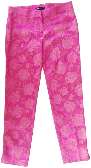 Preload https://img-static.tradesy.com/item/19356977/dolce-and-gabbana-hot-pink-metallic-brocade-straight-leg-pants-size-4-s-27-0-5-650-650.jpg