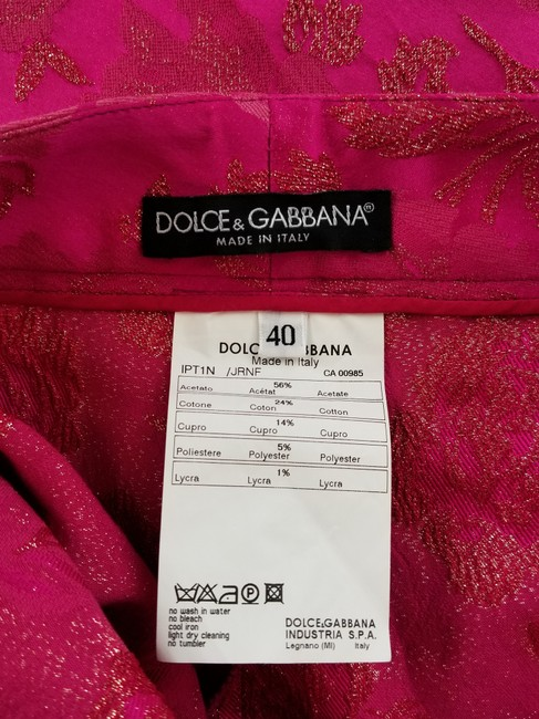 Dolce&Gabbana Cocktail Gold Brocade Slim Straight Pants Hot Pink