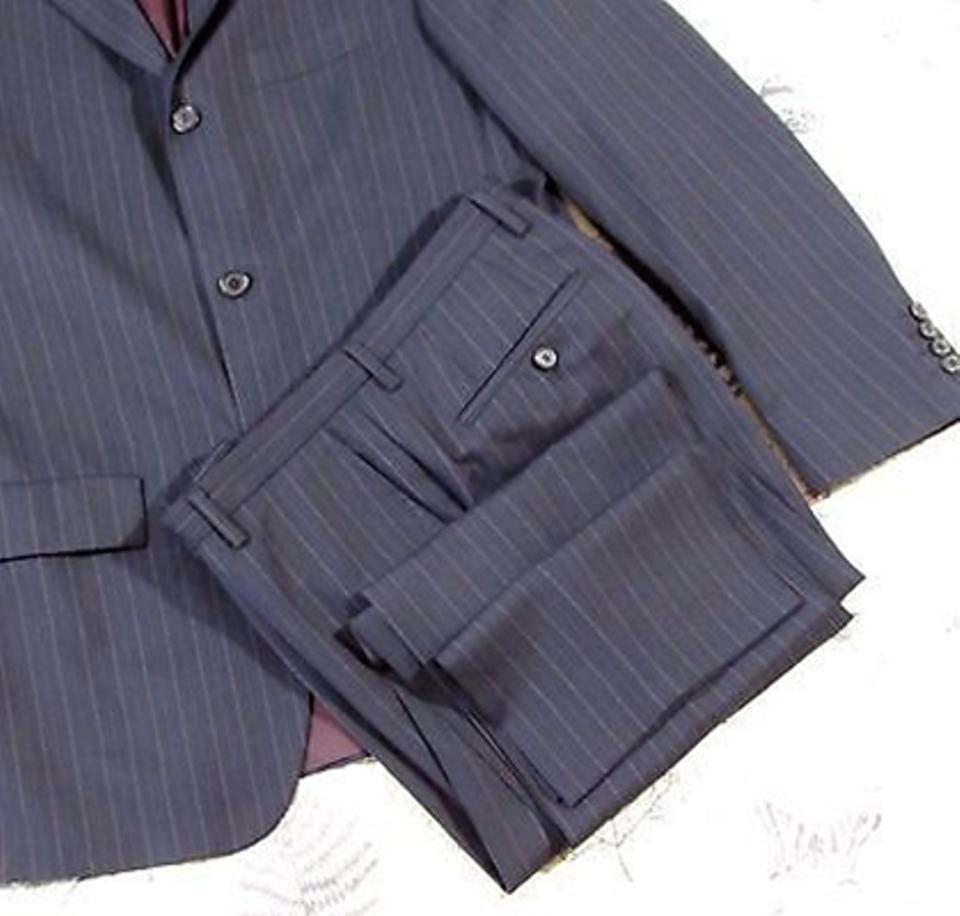 0853266e6 Boss by Hugo Boss Dark Gray/Pink/Red Striped Super 100 Scorsese 42r Pant  Suit Size OS (one size) - Tradesy