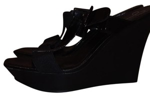 Jessica Simpson Faux Patent Strappy Stretchy Black Wedges