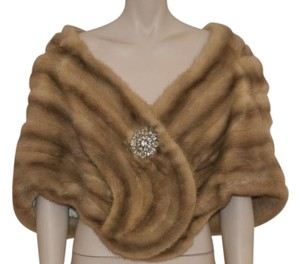 Vintage Fur Mink Stole Wrap Top GOLD AND CREAM