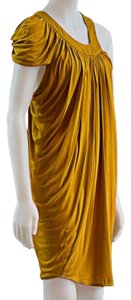 Anthropologie Mara Hoffman Project Runway Draped Avant Garde Gold Dress