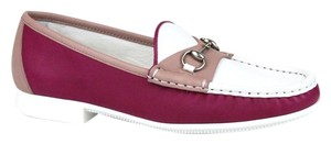 Gucci Womens Rafer Leather White Pink 5561 Flats