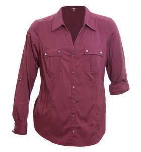 Style & Co Button Down Shirt Plum Tart