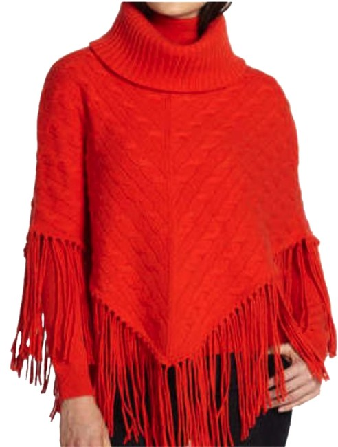 Preload https://img-static.tradesy.com/item/19357338/ralph-lauren-black-label-orange-mitre-cable-cashmere-ponchocape-size-10-m-0-1-650-650.jpg