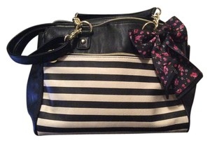 Betsey Johnson Satchel in Black and White Stripes