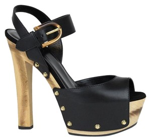 Gucci Leather Clog Sandal With Black 1000 Platforms