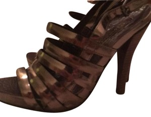 BCBGMAXAZRIA Strappy Metallic Stiletto Platforms