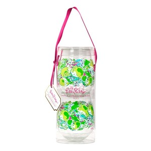 Lilly Pulitzer Lilly Pulitzer Set of 2 Pink Lemonade 16oz Stemless Wine Glasses