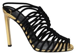 Gucci Leather Gold Black Suede 1000 Sandals