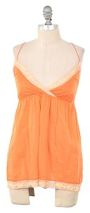 Anthropologie Delicate Lace Trim Cotton Voile Cross-back Top Tangerine Orange