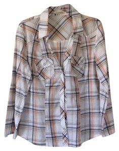 Forever 21 Button Down Shirt White with peach and navy plaid stripes