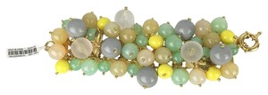 J.Crew J Crew Sea Glass Colored Thick Bauble Bracelet Gold Chain New With Tag Retail $125