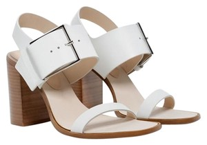Zara Leather High Heel Buckle White Sandals