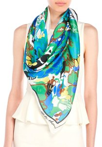 Jimmy Choo New! Jimmy Choo Blue Floral Silk Scarf