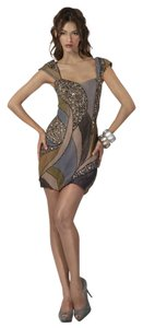 Jovani Embellished Multicolor Crystal Cap Sleeves Dress