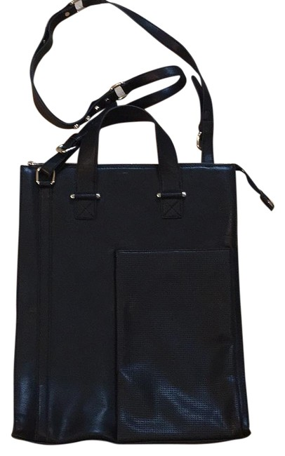 Item - Unisex Tote with Strap Ipad Pocket On Front Black Faux Leather Laptop Bag