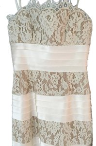 BCBGMAXAZRIA Strapless Lace Trim Gown Ivory Dress
