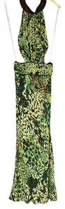 Green multi Maxi Dress by Marciano Sexy Cut-out Animal Print Maxi
