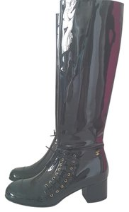 Chanel Patent Leather Knee High Leather Like New Black Boots