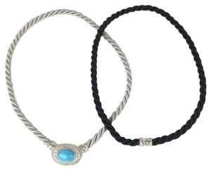 Judith Ripka Judith Ripka Interchangeable Cord Necklace Black Turquoise Cable Sterling Silver Stone Magnetic