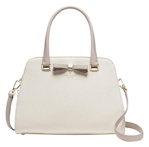Kate Spade Leather New With Tags Sawyer Ivory Tan Satchel in Cement/Crisp Linen