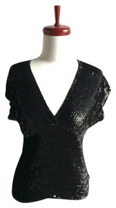 DKNY Sequin Short Sleeve Top black