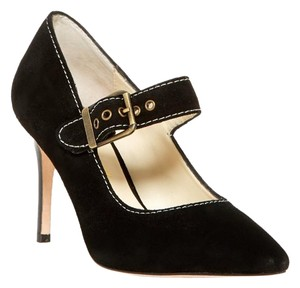 Bettye Muller Suede Leather Mary Jane Pump Black Pumps