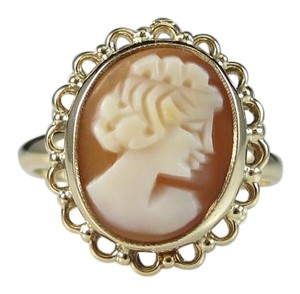 Other size 6, 10k yellow gold, coral, cameo shell, fashion, filigree ring