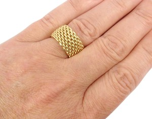 Tiffany & Co. Tiffany & Co 18K Yellow Gold Somerset WIDE Mesh Band Ring Size 6