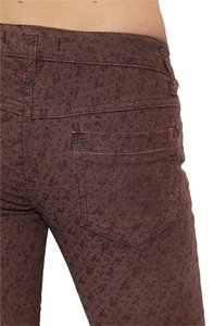 Free People Brown Bohemian Skinny Pants Multi Flower Print