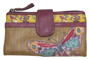 Fossil BOHO HiPpY! Leather Butterfly Birds Floral & Stripes Bi-fold Wallet