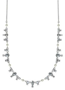 Givenchy Swarovski elements clear crystals sets in silver tone necklace