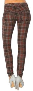 Free People Boho Brown Skinny Pants Multi plaid