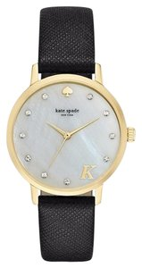 Kate Spade Women's Monogram ( U ) , Black Leather 3-Hand Watch
