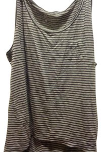 New York & Company Vo Top Gray and black stripe