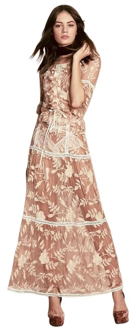 Item - Ivory and Nude XS Emelia Tiered Maxi Skirt Top Set Long Cocktail Dress Size 0 (XS)