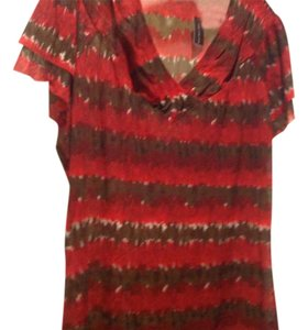The Limited Sheer Ve Neck Top Reds and brown
