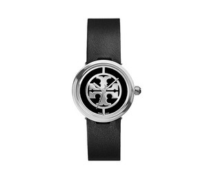 Tory Burch Tory Burch Reva Watch, Black Leather/Stainless Steel, 28 MM TRB4002