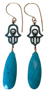 Turquoise & Hamsa rose gold fill earrings